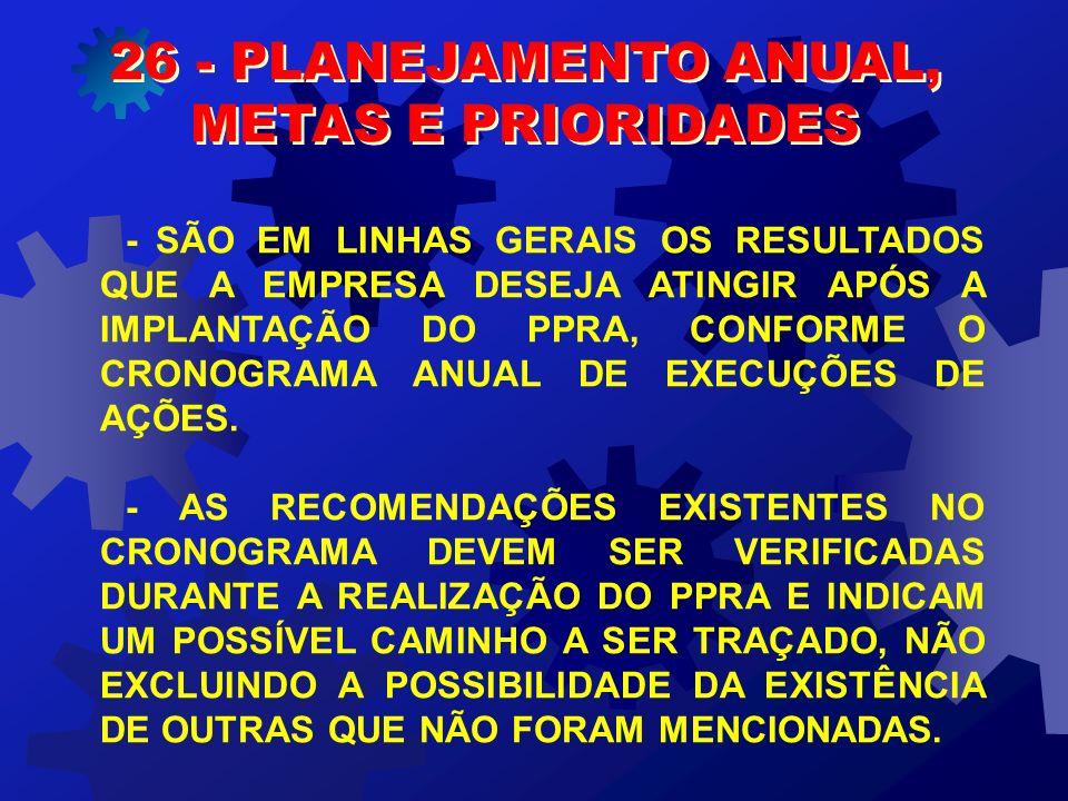 26 - PLANEJAMENTO ANUAL, METAS E PRIORIDADES