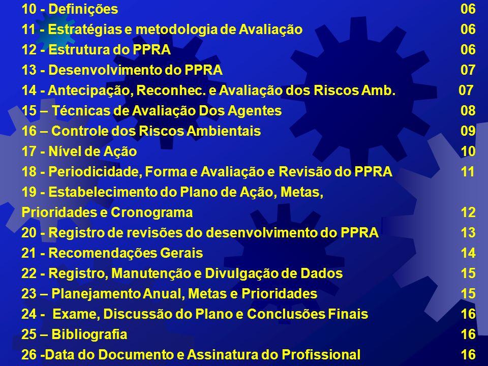 10 - Definições 06 11 - Estratégias e metodologia de Avaliação 06. 12 - Estrutura do PPRA 06.