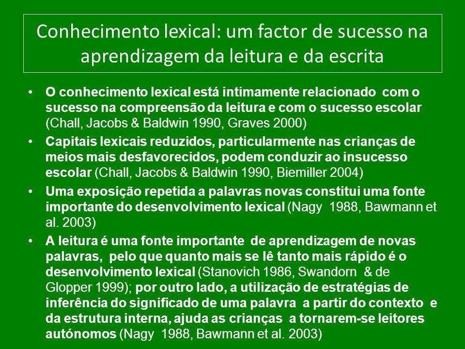 Conhecimento lexical: um factor de sucesso na aprendizagem da leitura e da escrita