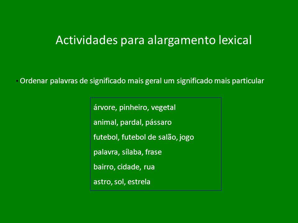 Actividades para alargamento lexical