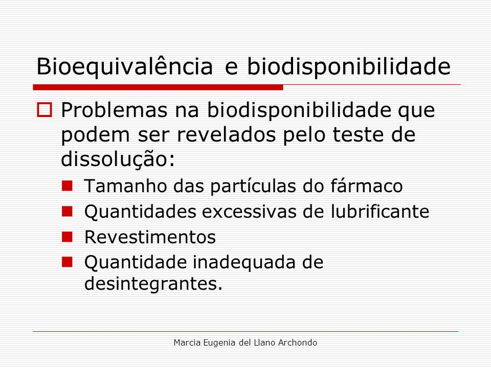 Bioequivalência e biodisponibilidade