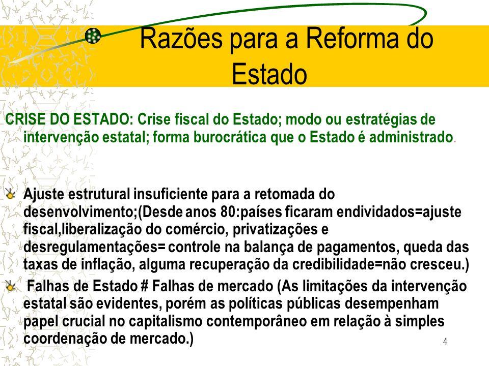 Razões para a Reforma do Estado