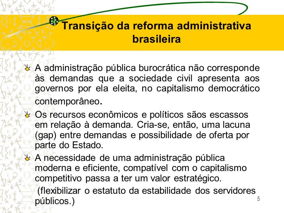 Transição da reforma administrativa brasileira