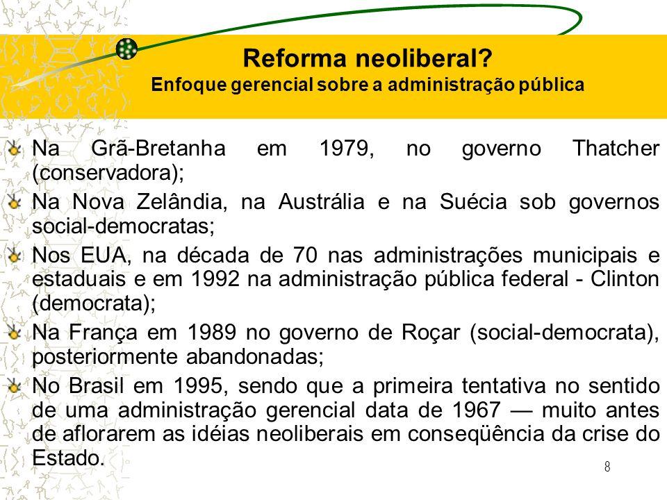 Reforma neoliberal Enfoque gerencial sobre a administração pública