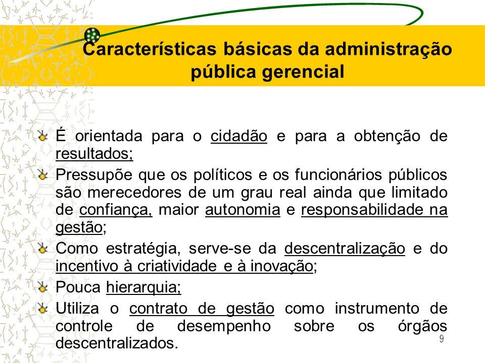 Características básicas da administração pública gerencial