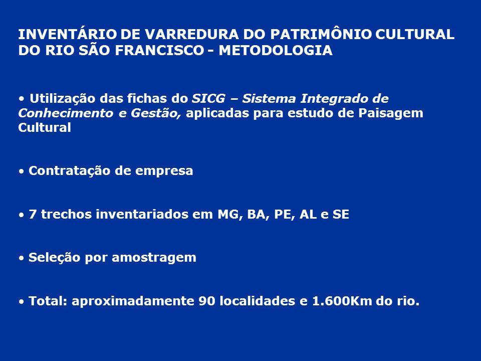 INVENTÁRIO DE VARREDURA DO PATRIMÔNIO CULTURAL DO RIO SÃO FRANCISCO - METODOLOGIA