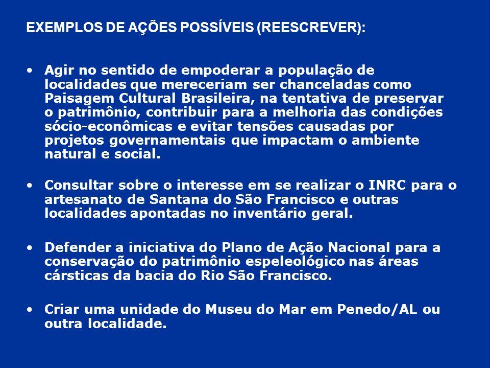 EXEMPLOS DE AÇÕES POSSÍVEIS (REESCREVER):