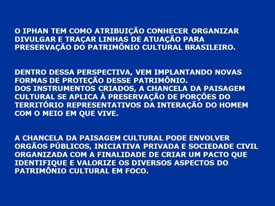 O IPHAN TEM COMO ATRIBUIÇÃO CONHECER ORGANIZAR DIVULGAR E TRAÇAR LINHAS DE ATUAÇÃO PARA PRESERVAÇÃO DO PATRIMÔNIO CULTURAL BRASILEIRO.