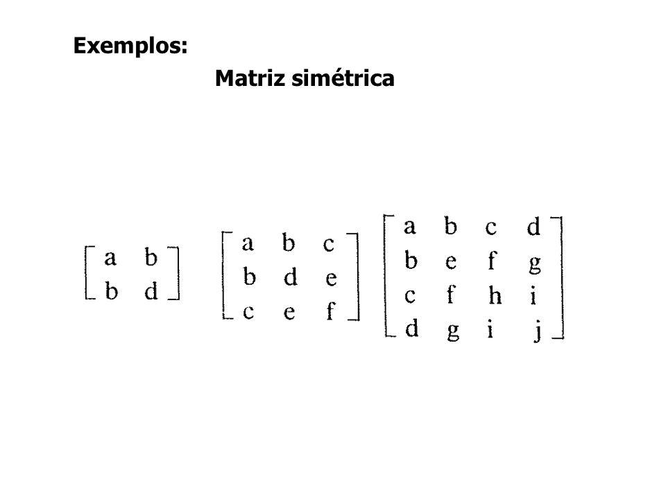 Exemplos: Matriz simétrica