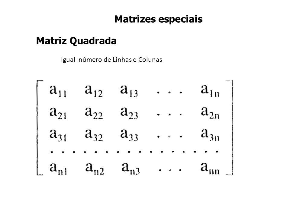 Matrizes especiais Matriz Quadrada