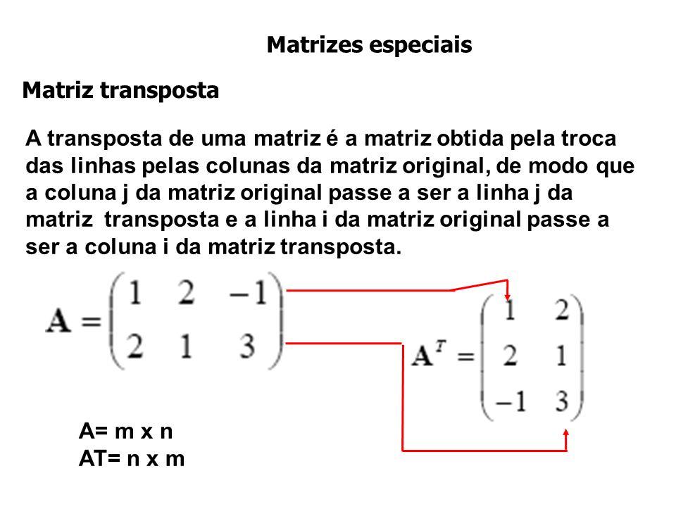 Matrizes especiais Matriz transposta.