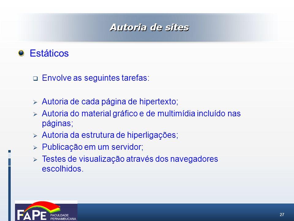 Estáticos Autoria de sites Envolve as seguintes tarefas: