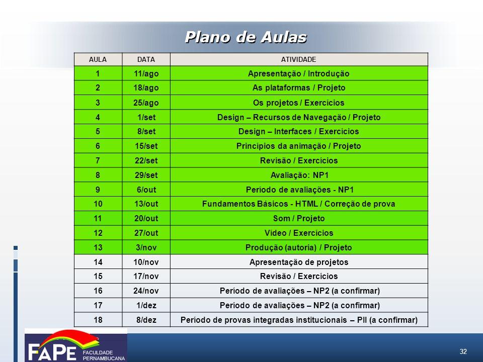 Plano de Aulas 1 11/ago Apresentação / Introdução 2 18/ago