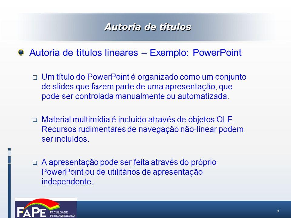 Autoria de títulos lineares – Exemplo: PowerPoint