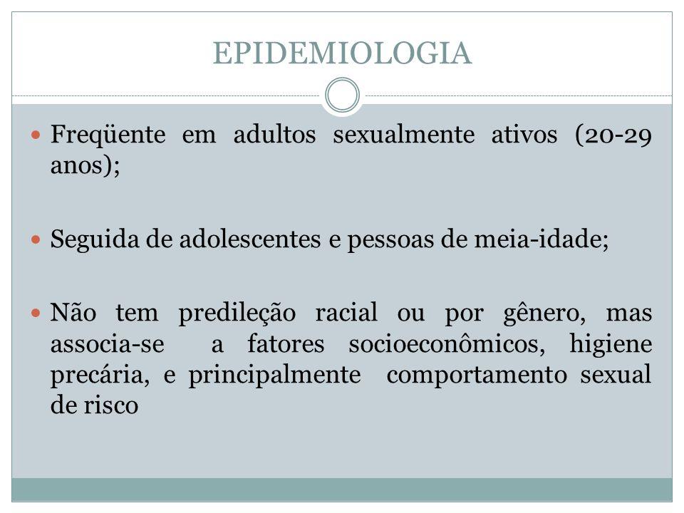 EPIDEMIOLOGIA Freqüente em adultos sexualmente ativos (20-29 anos);
