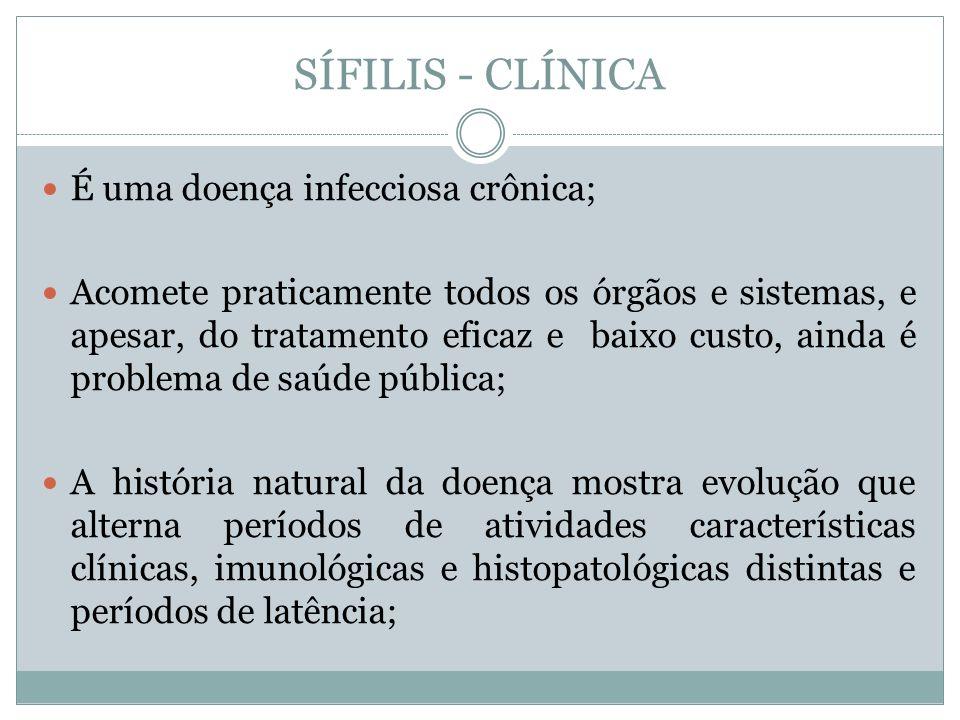 SÍFILIS - CLÍNICA É uma doença infecciosa crônica;