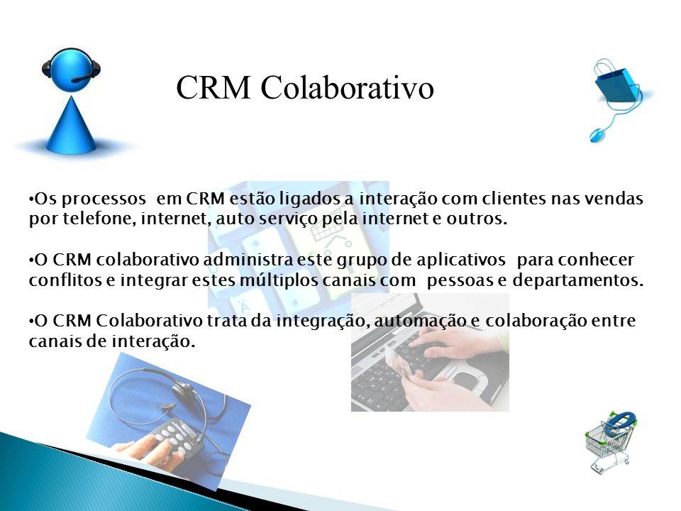 CRM Colaborativo Os processos em CRM estão ligados a interação com clientes nas vendas por telefone, internet, auto serviço pela internet e outros.