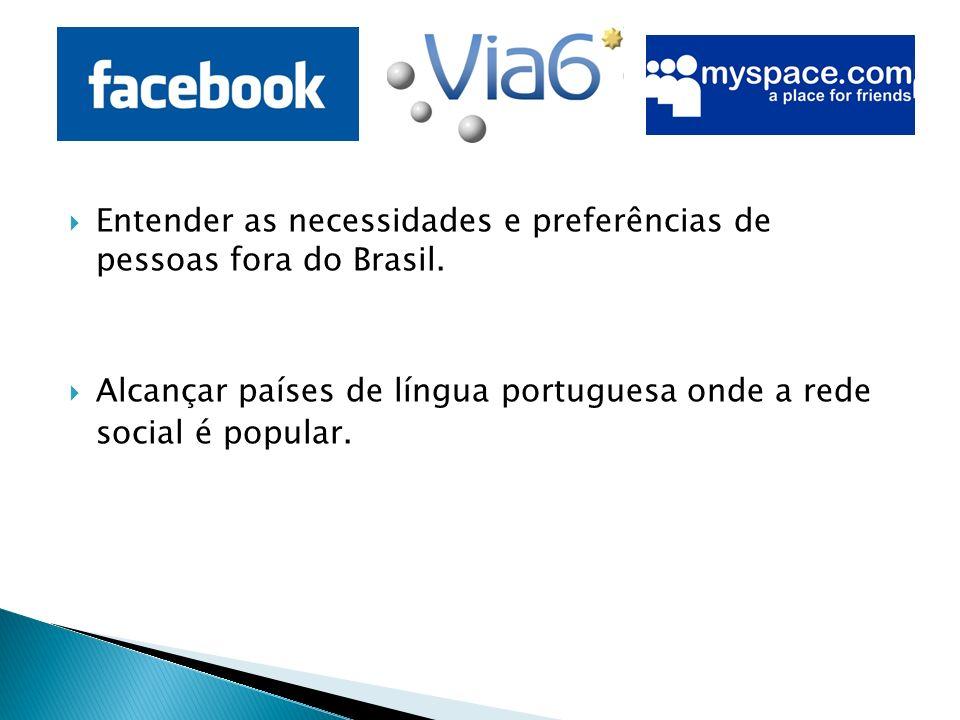 Entender as necessidades e preferências de pessoas fora do Brasil.