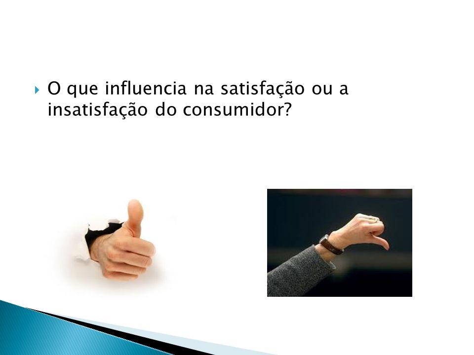 O que influencia na satisfação ou a insatisfação do consumidor