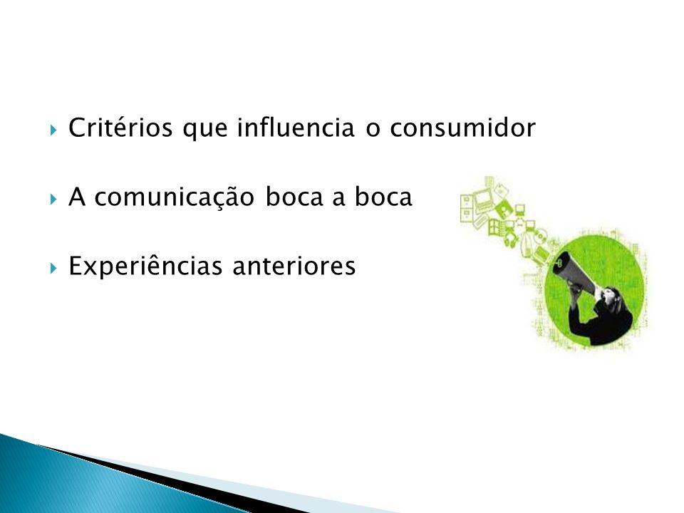 Critérios que influencia o consumidor