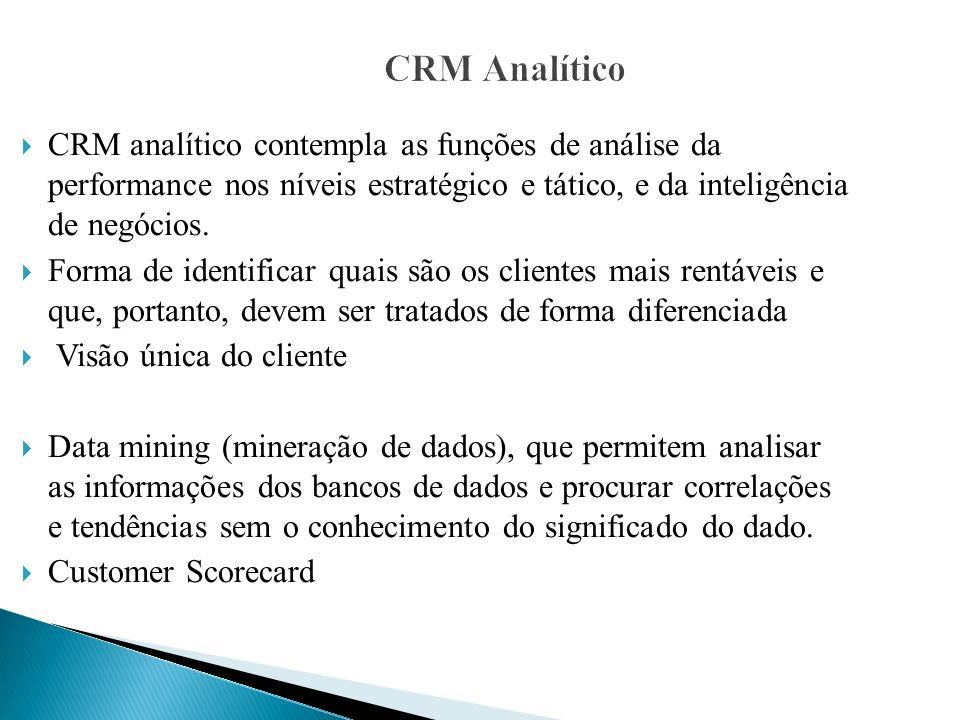 CRM AnalíticoCRM analítico contempla as funções de análise da performance nos níveis estratégico e tático, e da inteligência de negócios.