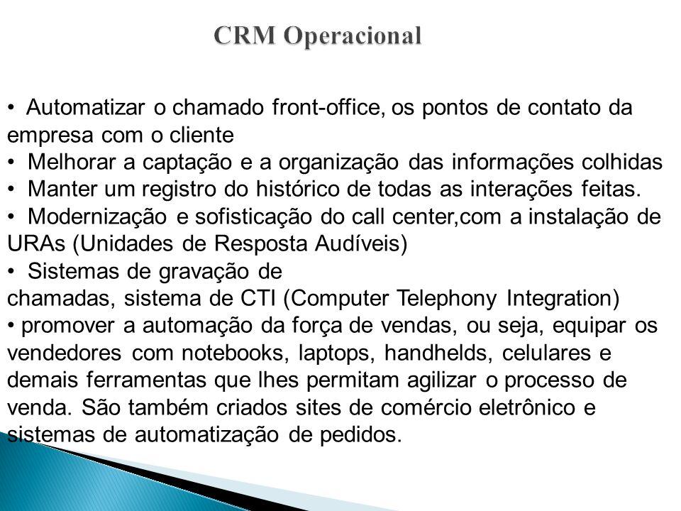 CRM Operacional Automatizar o chamado front-office, os pontos de contato da empresa com o cliente.