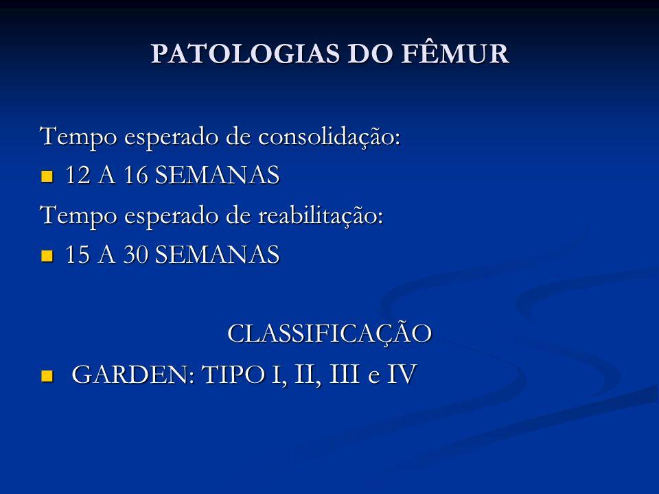 PATOLOGIAS DO FÊMUR Tempo esperado de consolidação: 12 A 16 SEMANAS