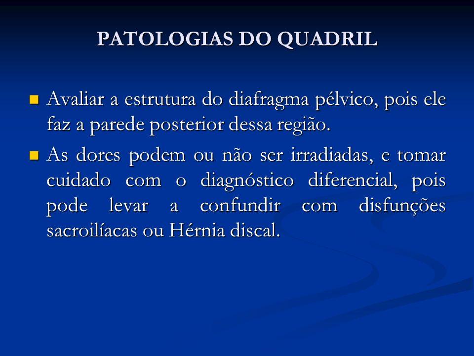 PATOLOGIAS DO QUADRIL Avaliar a estrutura do diafragma pélvico, pois ele faz a parede posterior dessa região.