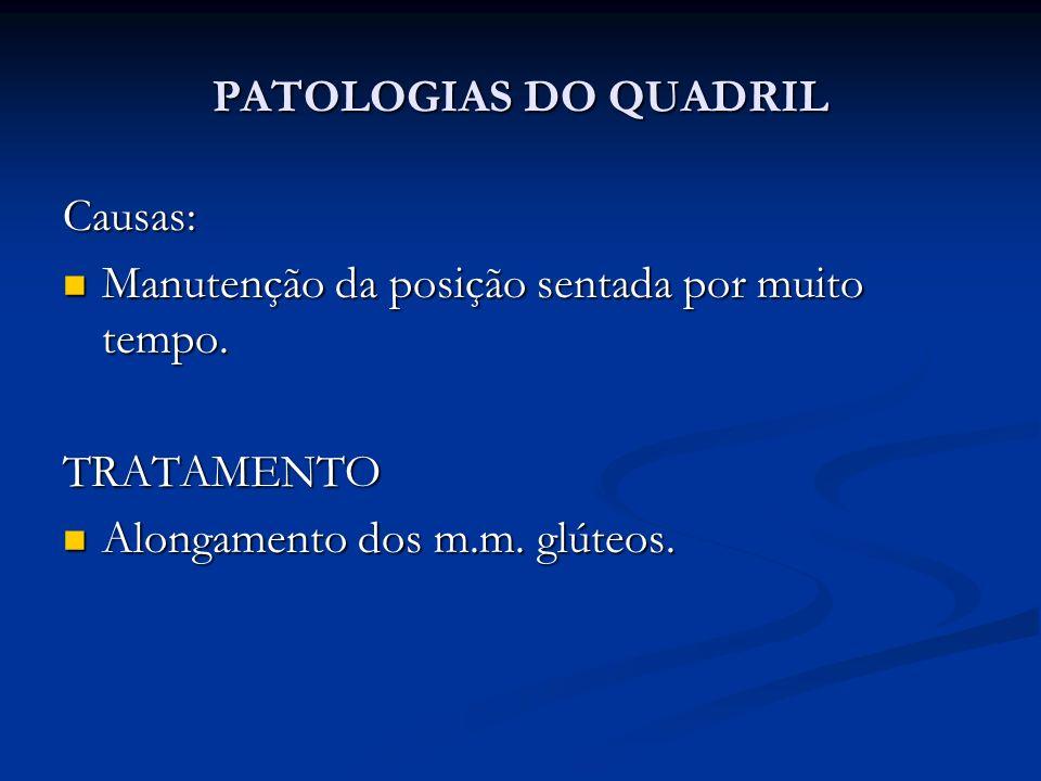 PATOLOGIAS DO QUADRIL Causas: Manutenção da posição sentada por muito tempo.