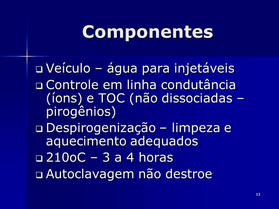 Componentes Veículo – água para injetáveis