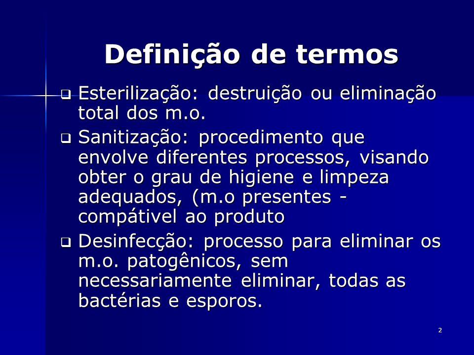 Definição de termos Esterilização: destruição ou eliminação total dos m.o.