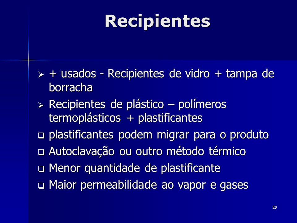 Recipientes + usados - Recipientes de vidro + tampa de borracha