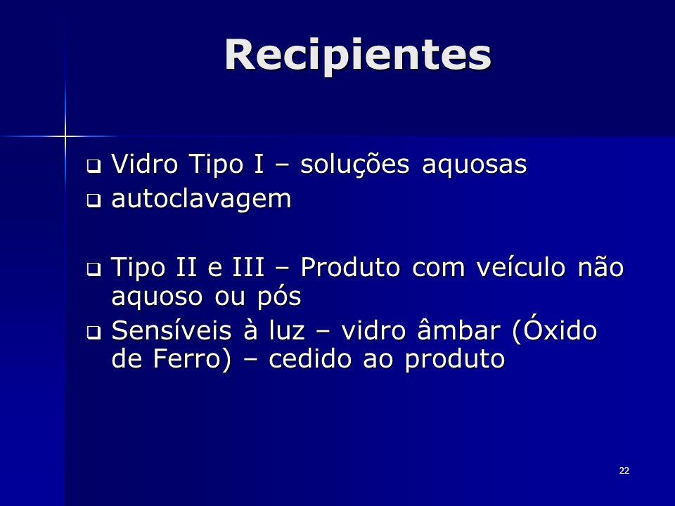 Recipientes Vidro Tipo I – soluções aquosas autoclavagem