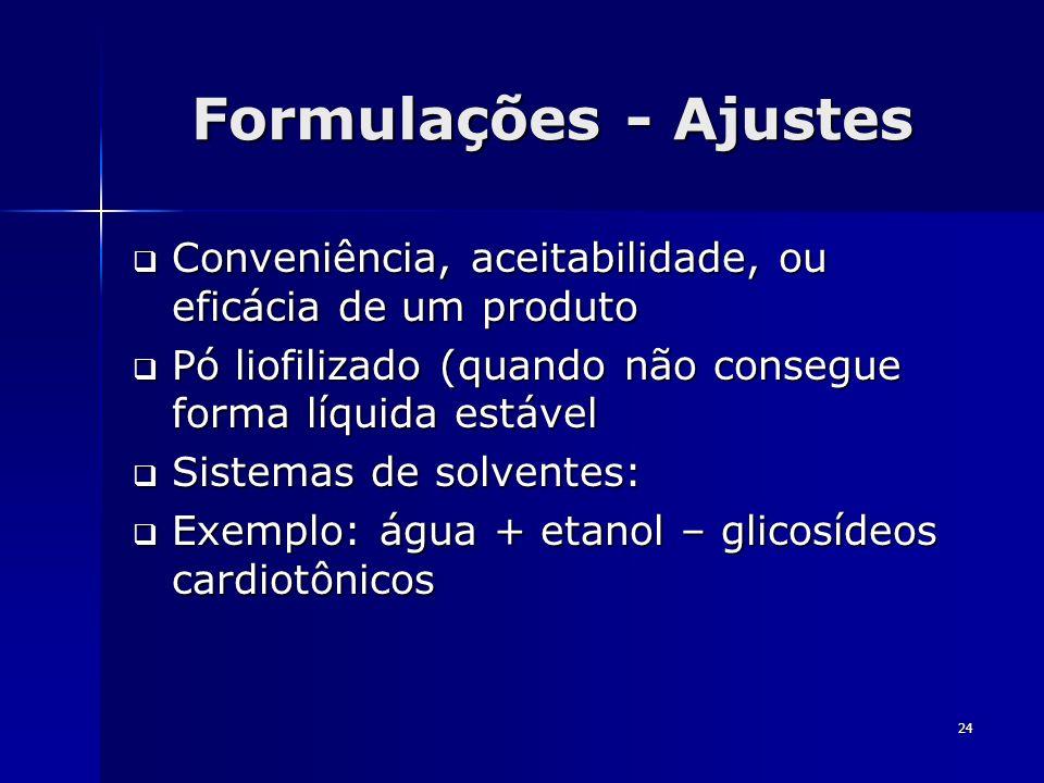 Formulações - Ajustes Conveniência, aceitabilidade, ou eficácia de um produto. Pó liofilizado (quando não consegue forma líquida estável.