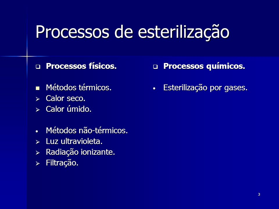 Processos de esterilização