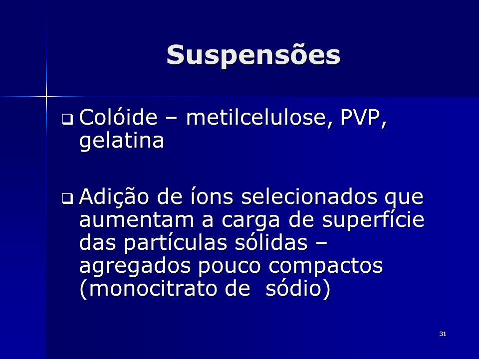 Suspensões Colóide – metilcelulose, PVP, gelatina