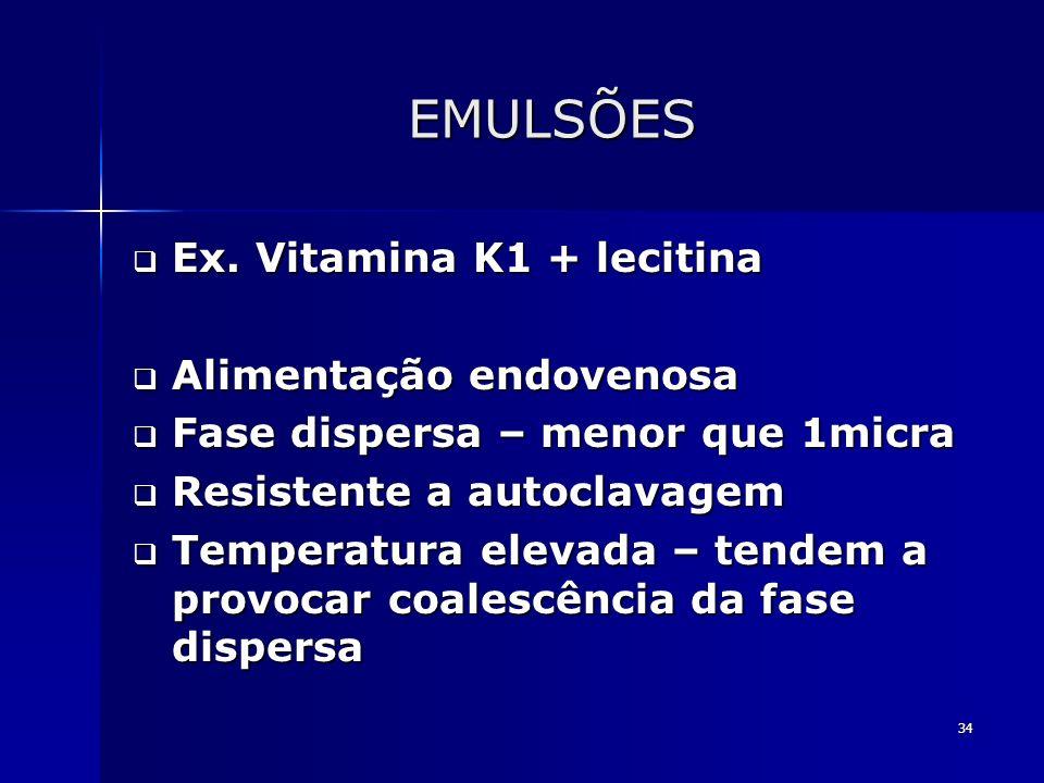 EMULSÕES Ex. Vitamina K1 + lecitina Alimentação endovenosa