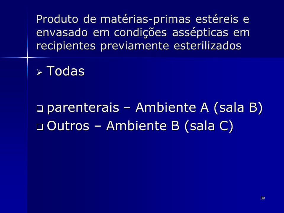 parenterais – Ambiente A (sala B) Outros – Ambiente B (sala C)