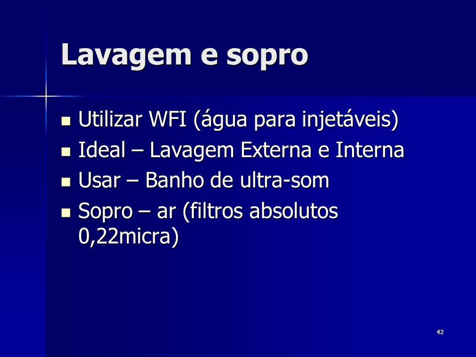 Lavagem e sopro Utilizar WFI (água para injetáveis)