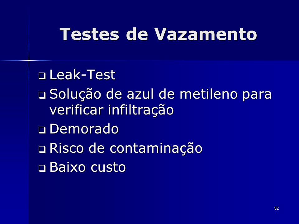 Testes de Vazamento Leak-Test