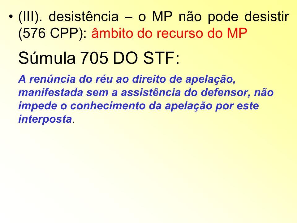 (III). desistência – o MP não pode desistir (576 CPP): âmbito do recurso do MP