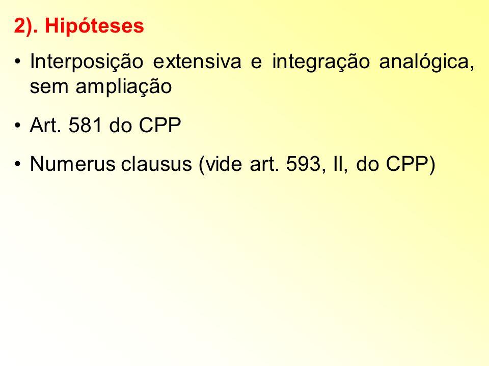 2). Hipóteses Interposição extensiva e integração analógica, sem ampliação.