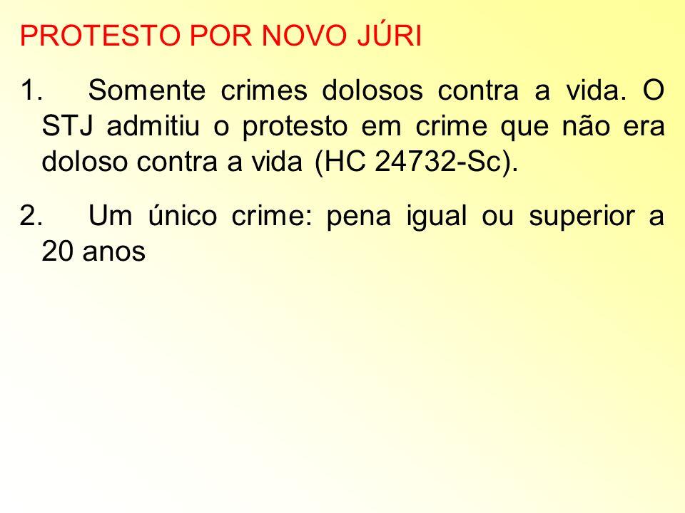 PROTESTO POR NOVO JÚRI 1. Somente crimes dolosos contra a vida. O STJ admitiu o protesto em crime que não era doloso contra a vida (HC 24732-Sc).