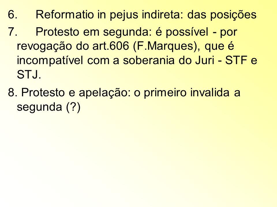 6. Reformatio in pejus indireta: das posições