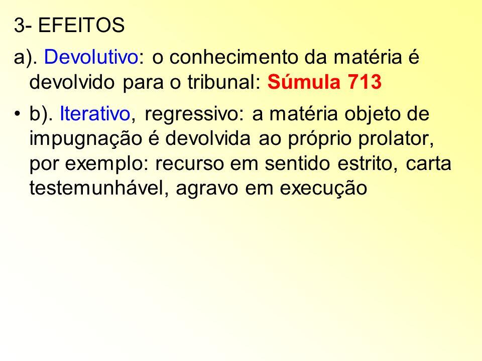 3- EFEITOS a). Devolutivo: o conhecimento da matéria é devolvido para o tribunal: Súmula 713.