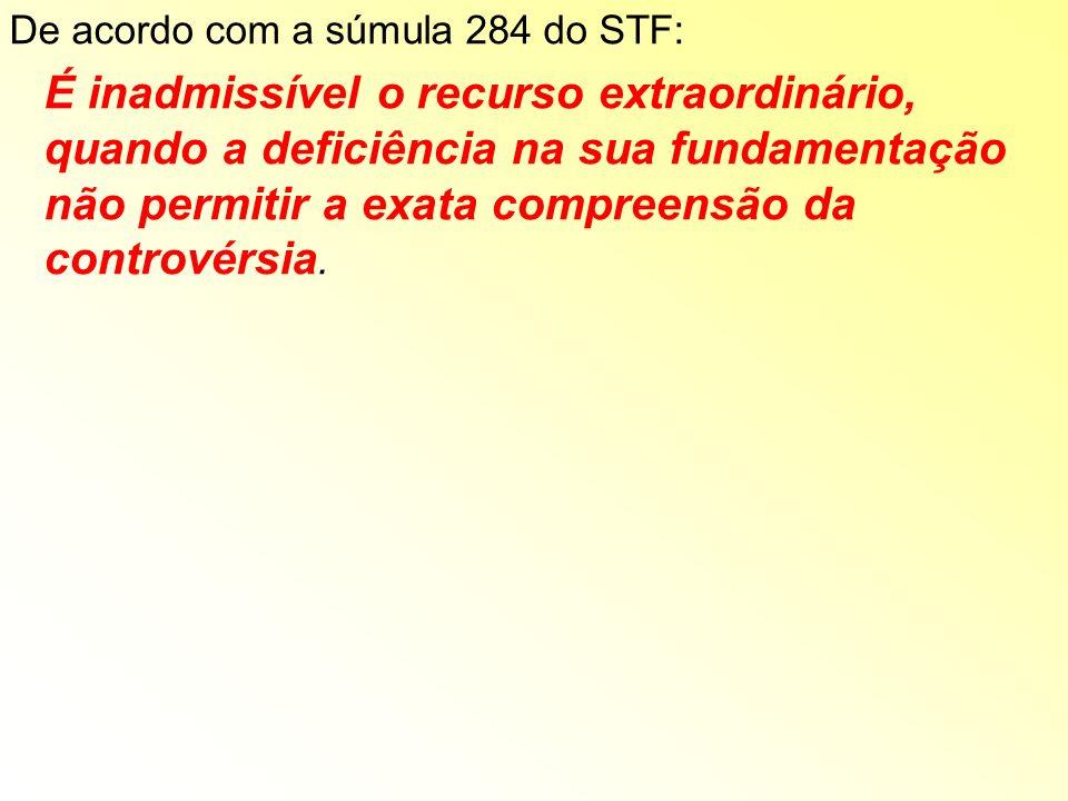 De acordo com a súmula 284 do STF: