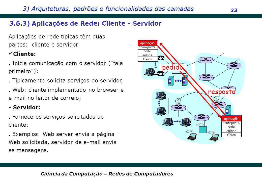 pedido resposta 3.6.3) Aplicações de Rede: Cliente - Servidor