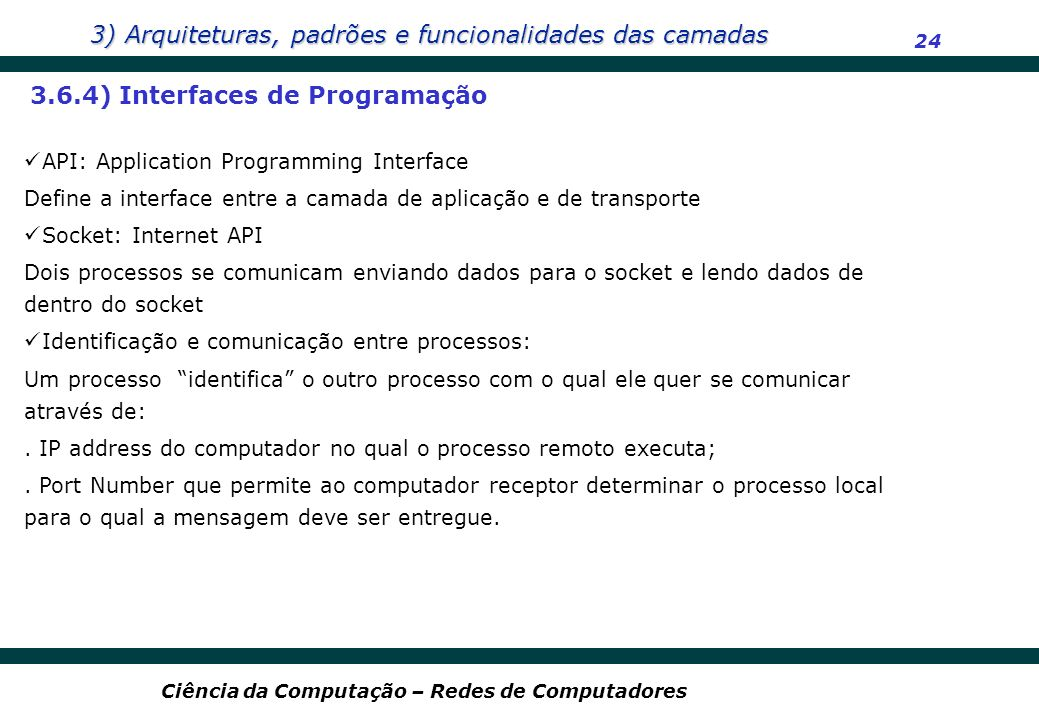 3.6.4) Interfaces de Programação