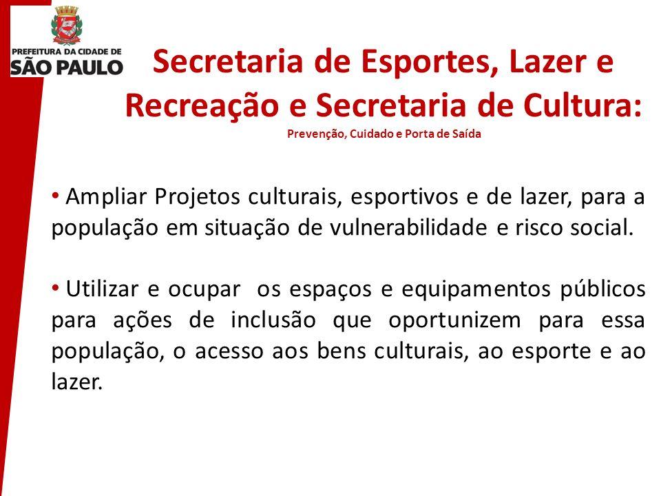 Secretaria de Esportes, Lazer e Recreação e Secretaria de Cultura: Prevenção, Cuidado e Porta de Saída