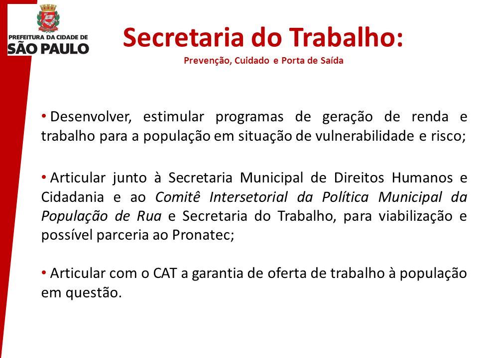 Secretaria do Trabalho: Prevenção, Cuidado e Porta de Saída
